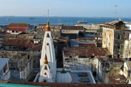 Stone Town view roofs and sea