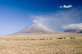 Ol Doinyo Lengai, an active volcano in the Great Rift Valley, said to be the home of Maasai God Engai
