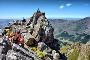 Hikers on Pieke, Jonkershoek Nature Reserve, near Stellenbosch, Western Cape