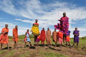 Maasai people performing a traditional dance