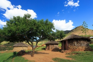 Basutho village in the Maluti Mountains, Lesotho