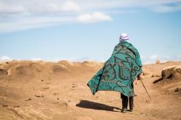 Basutho man with traditional blanket